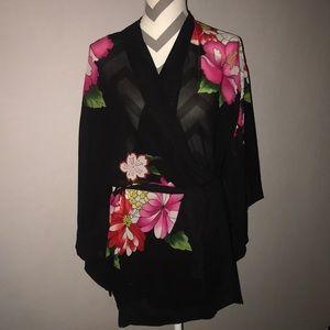 Victoria's Secret Floral Butterfly Sleeve Kimono